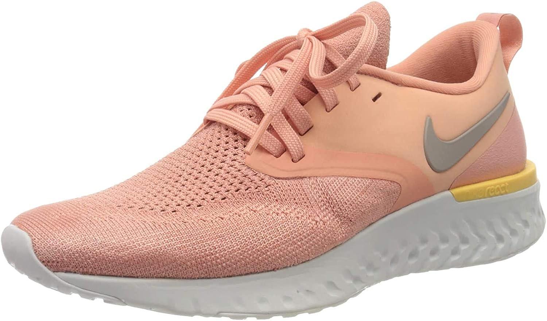 Nike W Odyssey React 2 Flyknit, Chaussures d'Athlétisme Femme Rose Pink Quartz Pumice Gris Platinum Tint Celestial Gold 602