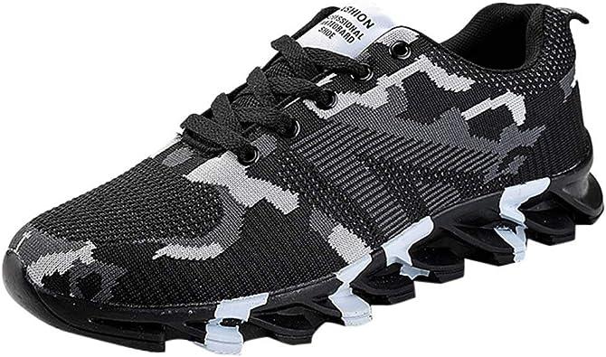 Zapatillas de Running para Hombre, Sencillo Vida Zapatos para Correr Gimnasio Zapatillas de Deporte Unisex Adulto Transpirables Sneakers Casuales Hombres para Senderismo Aire Libre de Cordones: Amazon.es: Zapatos y complementos