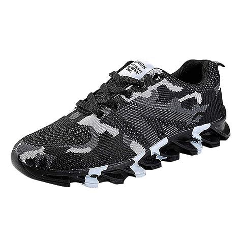 JiaMeng Zapatillas Running para Hombre Aire Libre y Deporte Zapatillas de Deporte de Camuflaje de Ocio de Moda Antideslizante Transpirable luz Zapatillas: ...