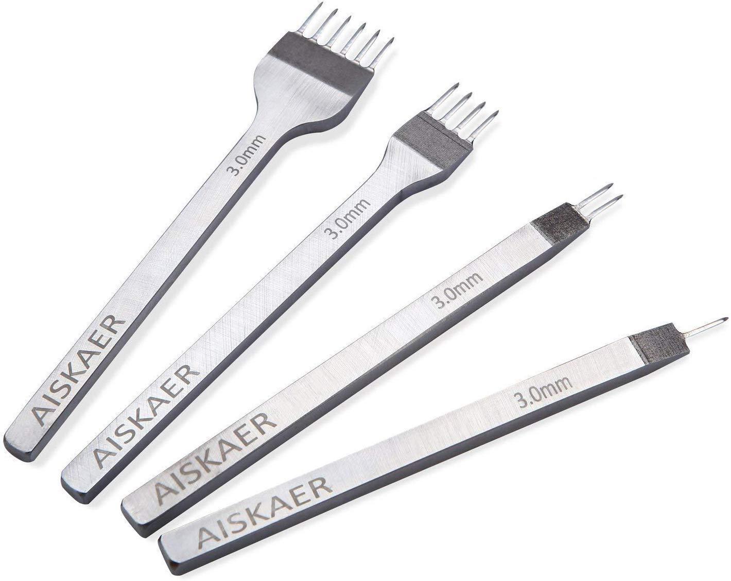 Aiskaer White Steel 3mm 1/2/4/6 Prong DIY Diamond Lacing Stitching Chisel Set Leather Craft Kits