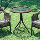 International Caravan 3186-TBL-AB-IC Furniture Piece Outdoor Resin Wicker and Glass-Top Bistro Table