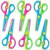 LovesTown Preschool Training Scissors,6 Pcs Dual-Colour Children Safety Scissors Pre-School Training Scissors Safety Scissors