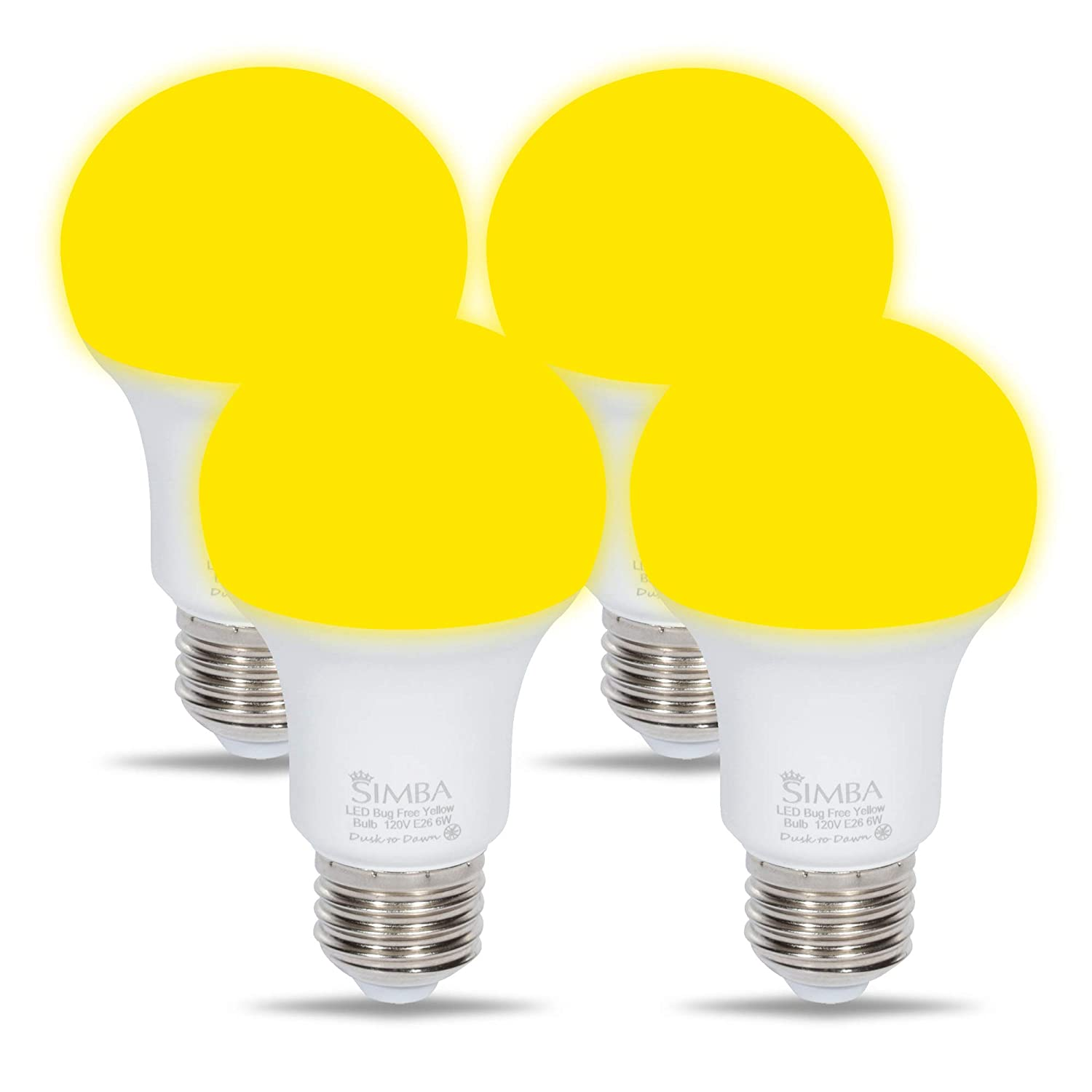 LED Bug Repelling Yellow Bulb 6W 40W Equivalent by Simba Lighting, Great for Outdoor Porch Light, Night Light, Dusk-to-Dawn Smart Sensor Auto On/Off, Amber Warm 2000K, A19 E26 Medium Base, Pack of 4