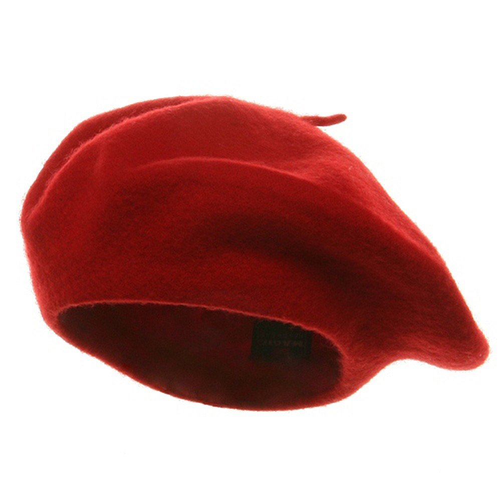 Classic French Artist 100% Wool Beret Hat Red