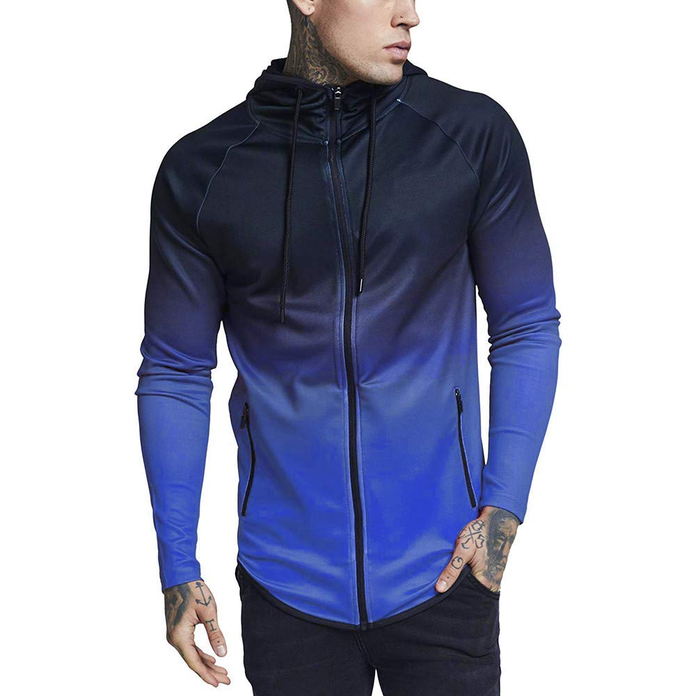 Sunhusing Men's Gradient Color Long Sleeve Drawstring Short Sweater Pullover Top Tracksuits