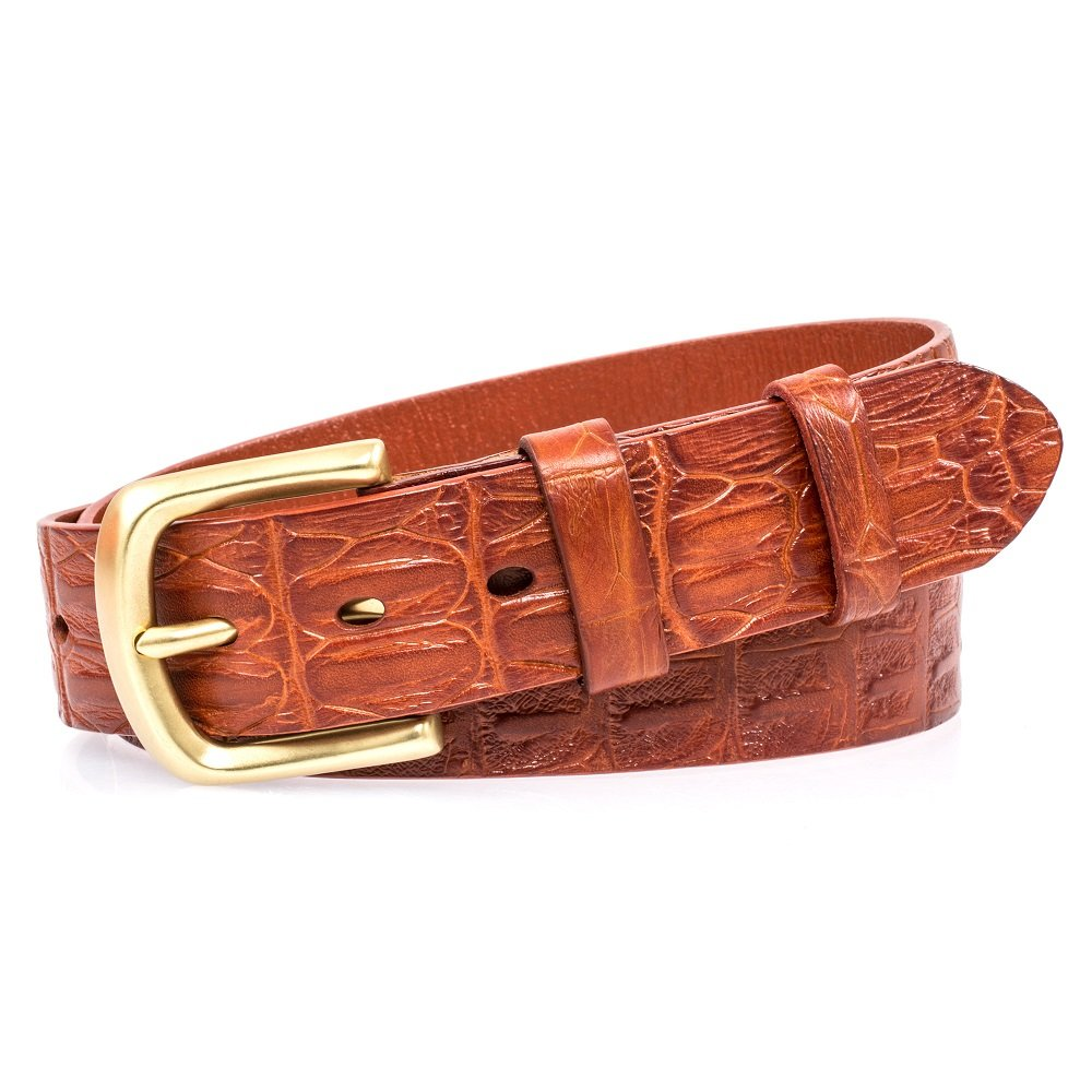 Martino Mens Belt Brown Genuine Leather Belt Yellow Belt 1.5 Wide With a Gift Box