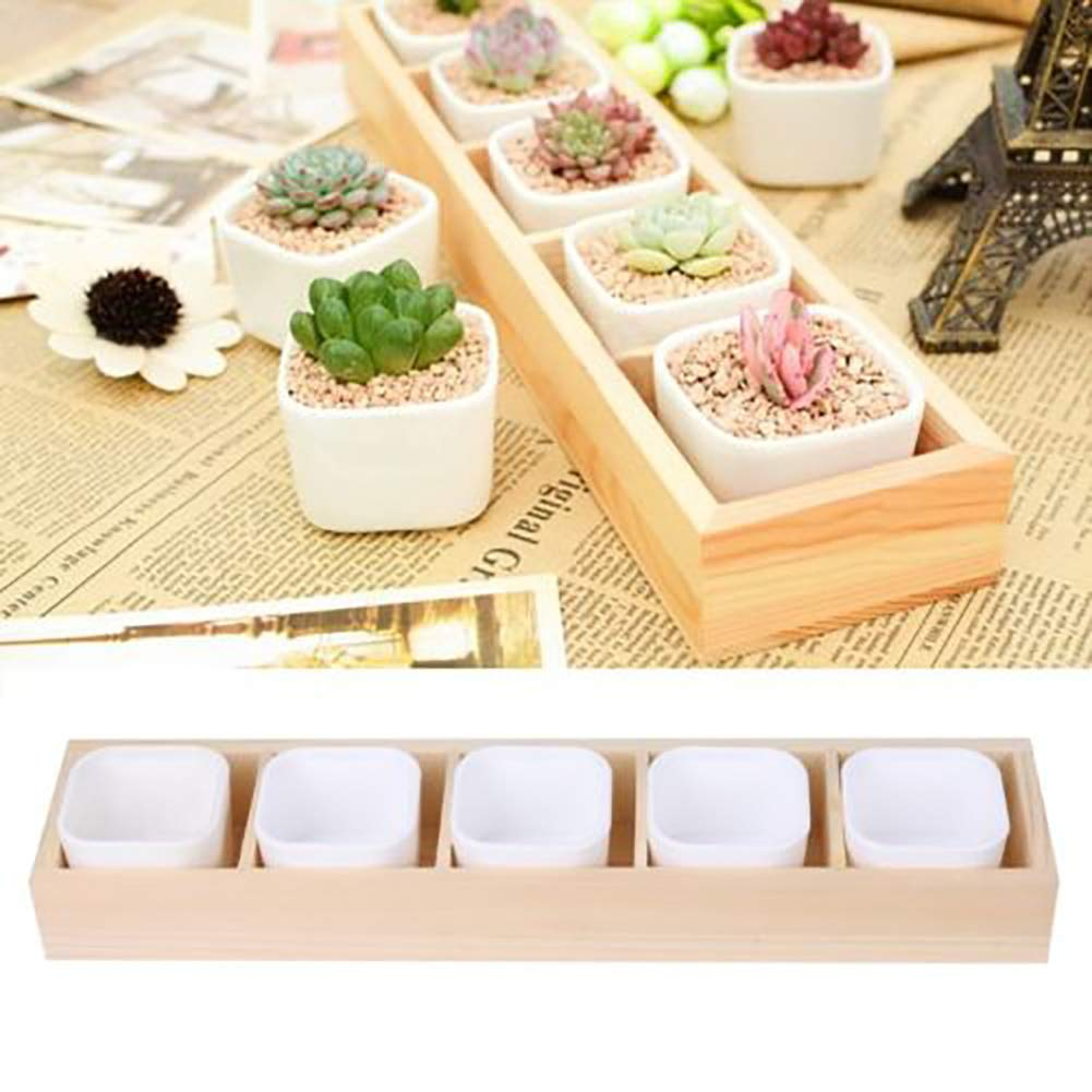 1Pc 2 Hole Plant Flower Pot Garden Square Succulent Box Container Planter