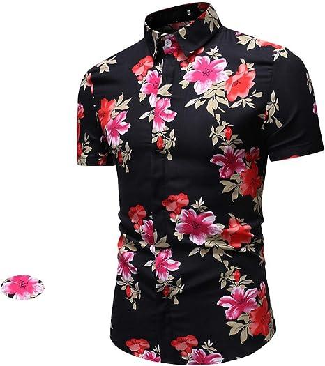 Mens Trend Camisa de Manga Corta para Hombre - Verano Moda Corte Ajustado Ocio Camisa,Transpirable Sudor Flor de Peonía Cuello de Pie Camisa: Amazon.es: Deportes y aire libre