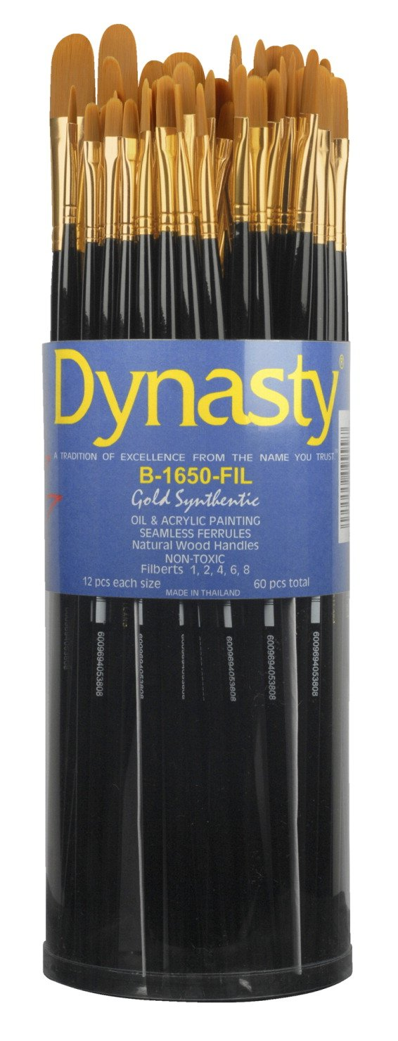 Dynasty B-1650 Art Education Filbert Paint Brushes, Classroom Cylinder, Set of 60 by Dynasty Brush