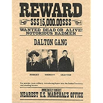 amazon com old tin sign old west wanted posters dalton gang old