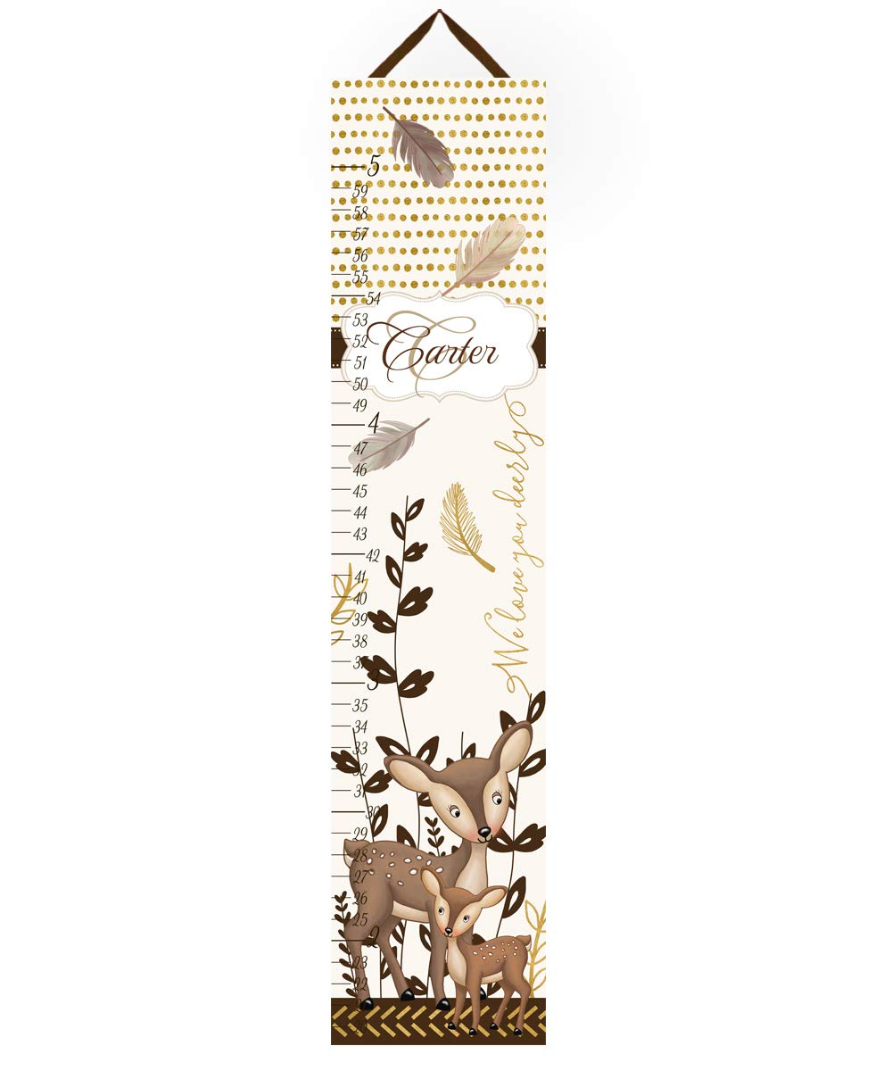 Toad and Lily Kids Canvas Growth Chart Gold Deer Bedroom Baby Nursery Wall Art Growth Chart GC0304 by Toad and Lily