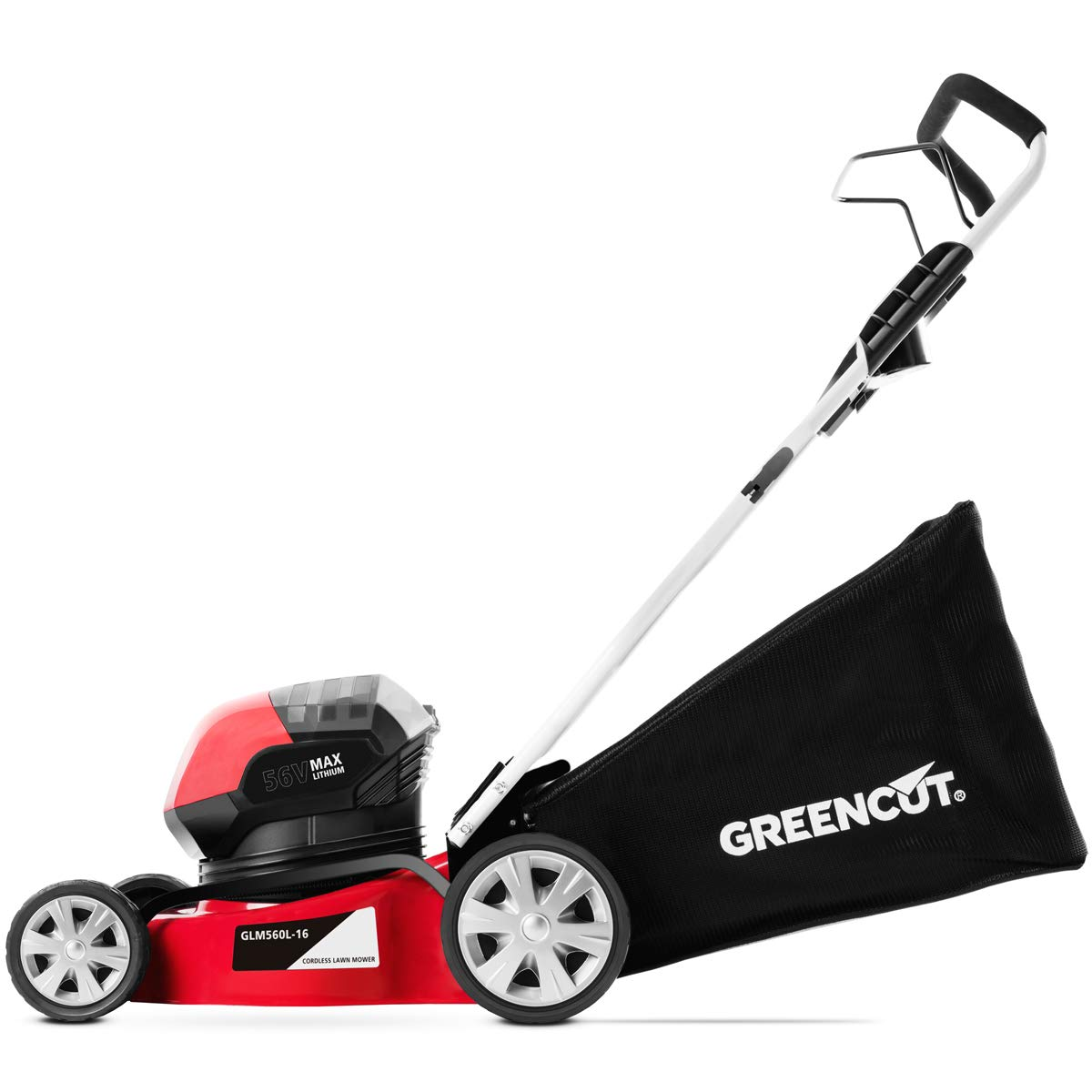 Greencut GLM56LI-ION16 - Cortacésped con tracción manual a batería de litio de 56V y arranque manual, con un ancho de corte de 407mm (o 16