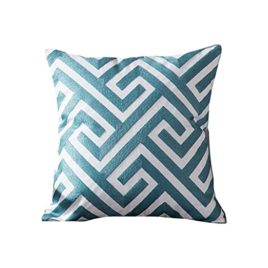 Funda de cojín azul bordado, funda de almohada decorativa ...
