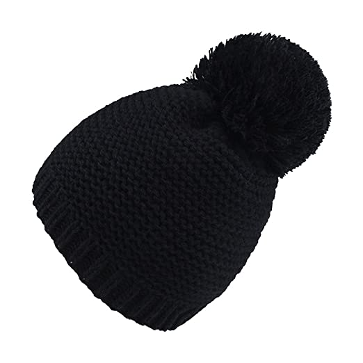 BAOBAO Women s Pompom Ball Beanie Hat Super Warm Thick Knit Slouchy ... 0be0f362db0