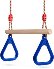 YaeKoo Outdoor Indoor Wooden Swing Seat with Adjustable Rope for Children Adult up to 115KG