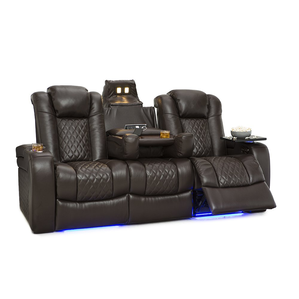 Seatcraft Anthem Home Theater Seating Leather Multimedia Power Recline Sofa with Drop-Down Table, Powered Headrest, Storage, and Cup Holders (Brown)