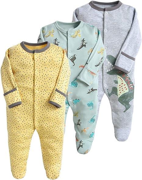 Image of Pijama para bebé, pelele, paquete de 3, unisex, de algodón, 3 a 12 meses gris 6-9 Monate
