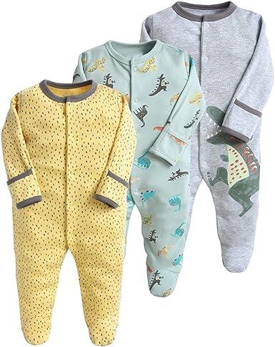 Bebé Niño Niña Pijama Pack de 3, Pelele de Algodón Mameluco con Cremalleras Monos Manga Larga Trajes de Niños 0-12 Meses