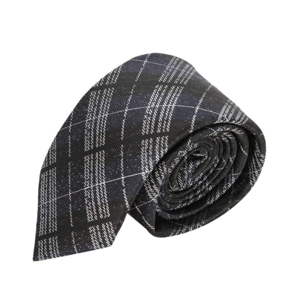 Color : Black, Size : M FYDL Mens Tie Yarn Stripe Business Tie Banquet Office Tights Tie Black 7cm