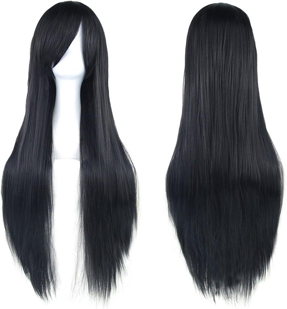 Fouriding 31.5//80cm peluca larga Cosplay anime mujer pelo largo peluca recta sint/ética diaria