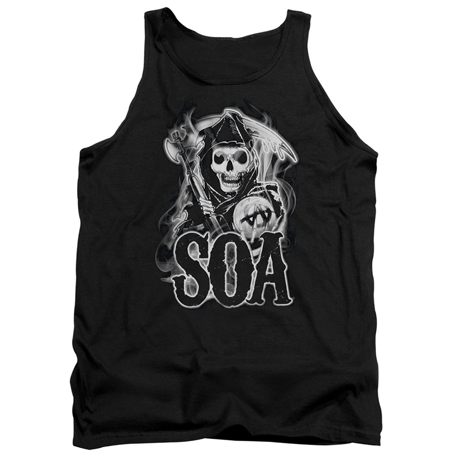 Sons Of Anarchy TV Series Smokey Biker Reaper And SOA Logo Adult Tank Top Shirt