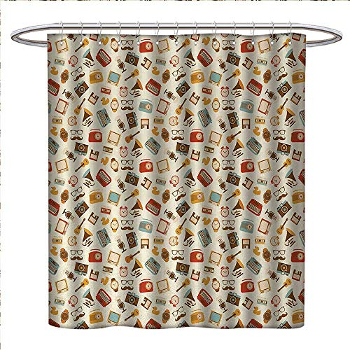 Square Clock Sydney (Anniutwo Vintage Shower Curtains with Shower Hooks Retro Pattern Old Fashioned Icons Alarm Clock Typewriter Gramophone Radio Cassette Satin Fabric Sets Bathroom W48 x L84 Multicolor)
