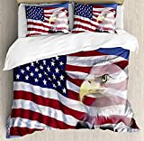 WomenFoucs American Flag Twin Bedding Comforter Sets All-Season 4pc Duvet Cover Set Quilt Bedspread for Adult/Kids/Teens, Bless America Flag in The Wind with Eagle Icon Double Exposure Citizen Image