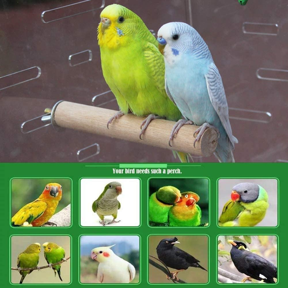 U//D Bird perches 2 Pack Natural Wood Made for Parrot Parakeet,Bird cage Accessories