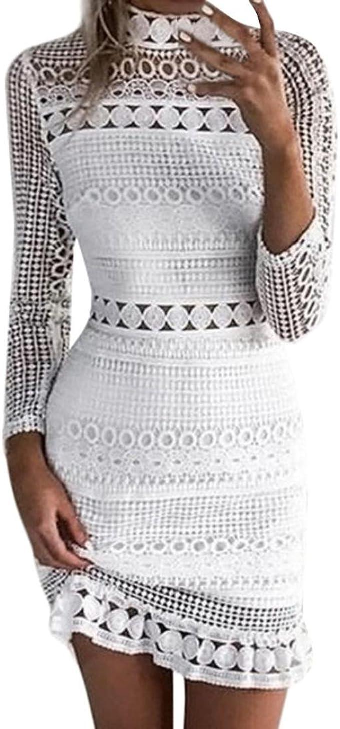 Damen Weiß Spitze Bleistift Kleid Goosuny Sexy Bodycon Aushöhlen