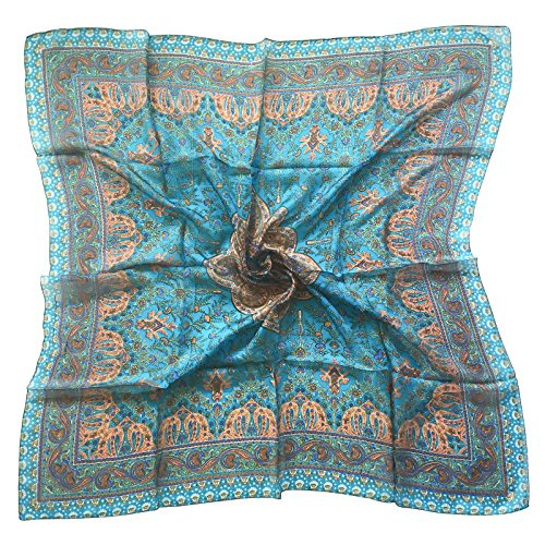 Paisley Luxury 100% Silk Square Scarf in Turquoise Blue - Paisley Scarve Silk