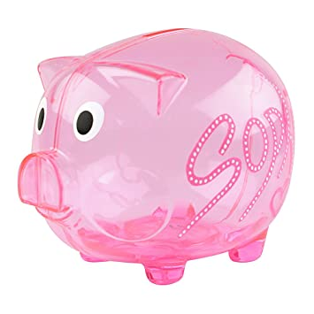 Amazon com: eBuyGB Personalized Transparent Plastic Piggy Bank