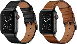 OUHENG Compatible with Apple Watch Band Genuine Leather Replacement Strap 44mm 42mm Black & Retro Brown