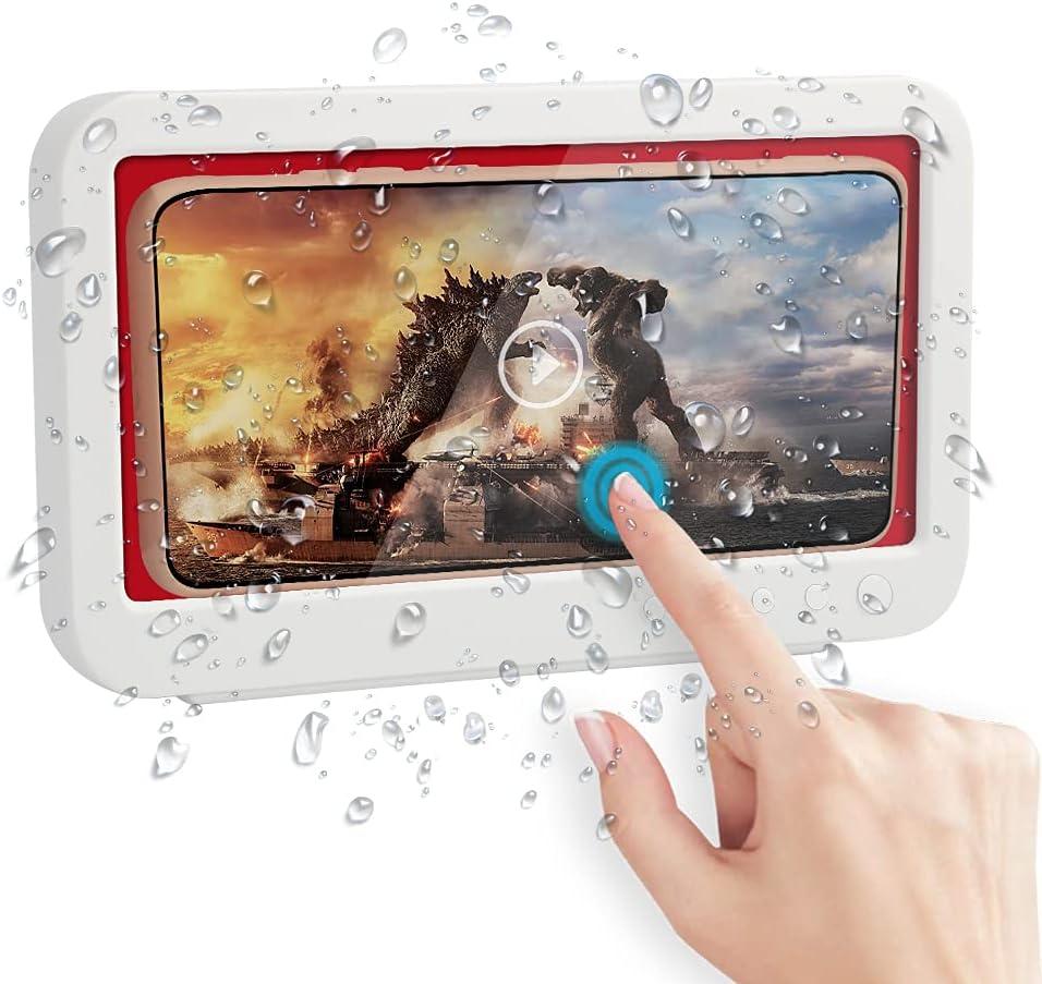 Soporte para celular impermeable ducha, baño (Blanco y Rojo)