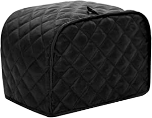 Toaster Cover, Polyester Fabric Quilted Four Slice Toaster Appliance Dust-proof Cover For Kitchen Small Appliance Dust Cover and Fingerprint Protection (Black )