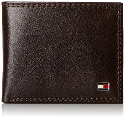 Tommy Hilfiger Men's Leather Wallet - Thin Sleek Casual Bifold with 6 Credit Card Pockets and Removable ID Window, Chocolate (Tray Brown Mens Wallets)