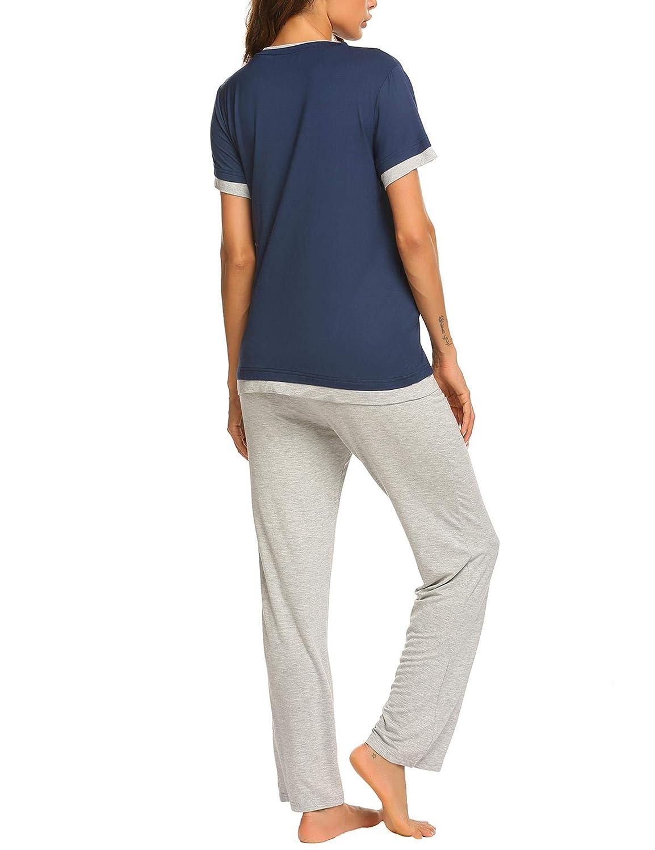 Ekouaer Maternity /& Nursing Pajama Set,Patchwork Short Sleeve Breastfeeding Sleepwear S-XXL