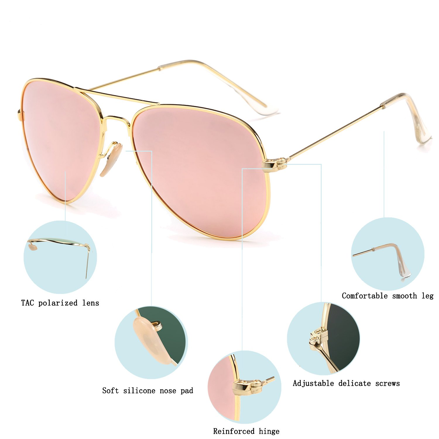 279e074f8b YuFalling Polarized Aviator Sunglasses for Men and Women (gold frame pink  lens