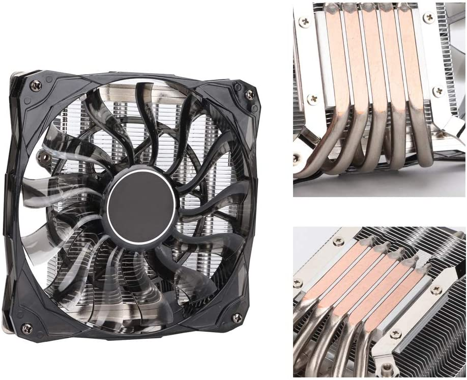 Cooling Fan CPU Radiator Five Heat Pipes 12CM Temperature Control ITX HTPC Ultra-Thin Fan for Most of ITX Compact Platforms Fast Heat Absorption