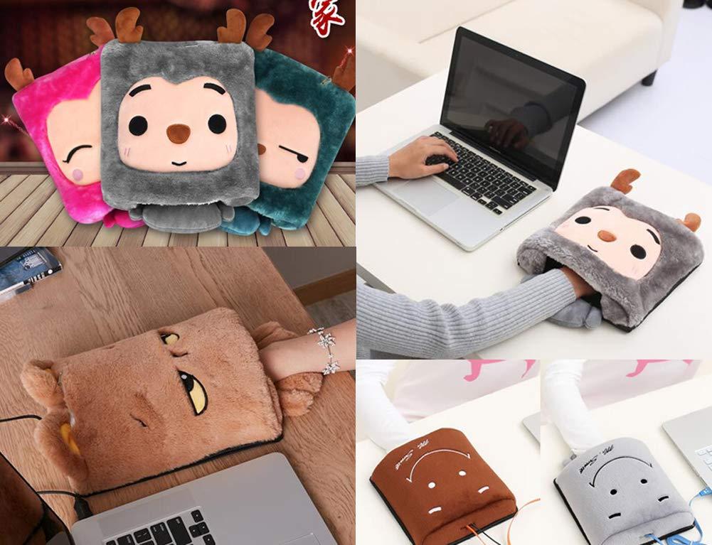 Tapis de r/échauffement des mains Brown Smile Face Tapis de souris chauffant USB