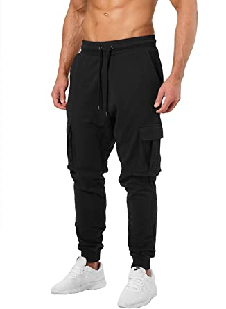 e1f78870c40c7b Ouber Men's Cargo Joggers Gym Pants with Zippered Pockets (S,Black)