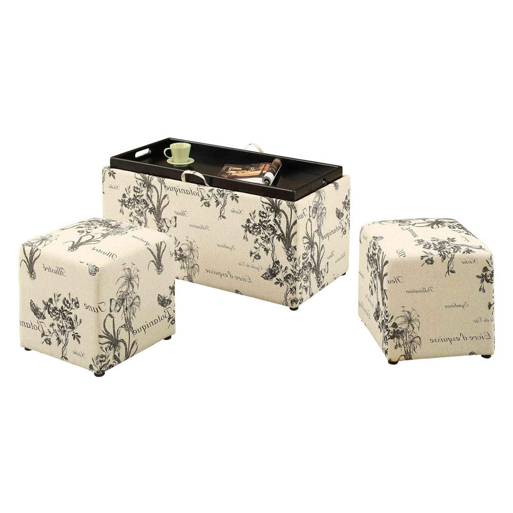 Tuft ottoman bench low storage set with 2 foot rest stool padded ivory upholstered end side coffee table for dorm living room bedroom kids room e book by