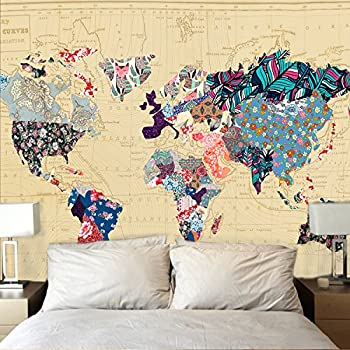 Amazon society6 world map watercolor wall tapestry large 88 x bonnie bone floral watercolor world map tapestry colorful printed wall hanging for living room bedroom dorm gumiabroncs Image collections