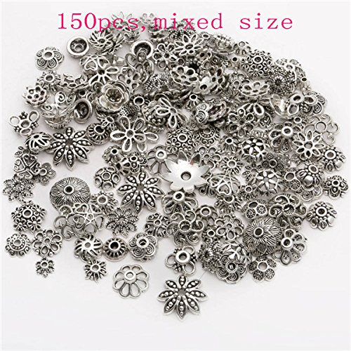 150 Pieces/lot Zinc Alloy Antique Silver plated color Bead Caps Fit Jewelry Findings Making End Caps (SILVER)