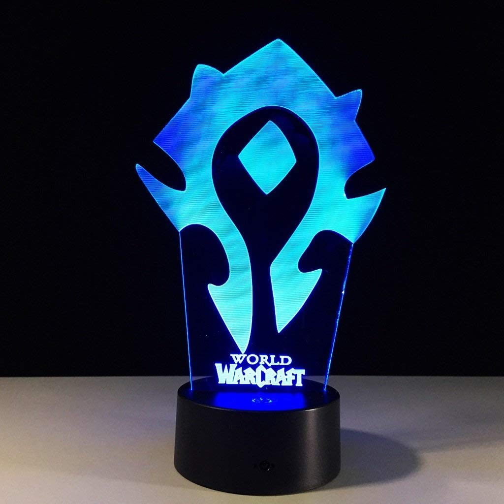 JKL Nachtlicht 3D Illusion Nachtlichter, LED Tisch Schreibtisch Lampen Bunte Berührungsschalter USB Charge Dekorative Lampe Kind Geburtstag Weihnachtsgeschenke(World Warcraft)