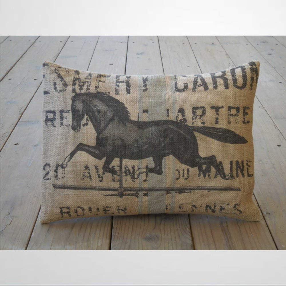 EricauBird Funda de cojín para cojín con diseño de caballo francés, ideal como regalo para amantes de caballos, casas de campo, fundas de almohada de 12 x 20 pulgadas