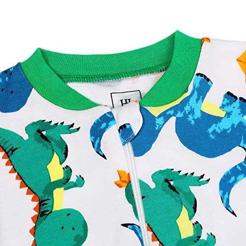 HONGLIN Baby Boys 2-Pack Footed Baby Pajamas Sleepers Rompers 100% Cotton Non-Slipping Sole (Dinosaur+Plane, 12-18 Months) by HONGLIN (Image #9)