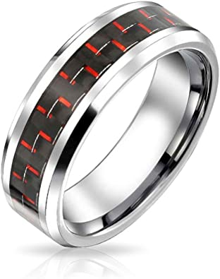 Bishilin 6mm Mens Womens Stainless Steel Wedding Bands Black Blue Carbon Fiber Wedding Rings Size:11