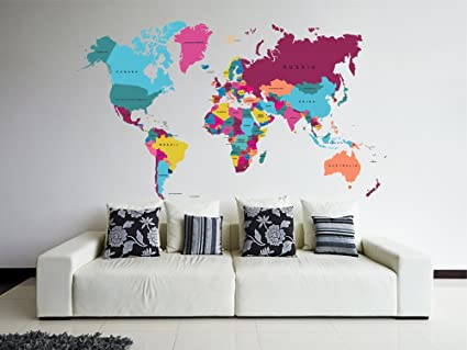 Map Of The World Decal.Amazon Com Stickersforlife Cik82 Full Color Wall Decal World Map