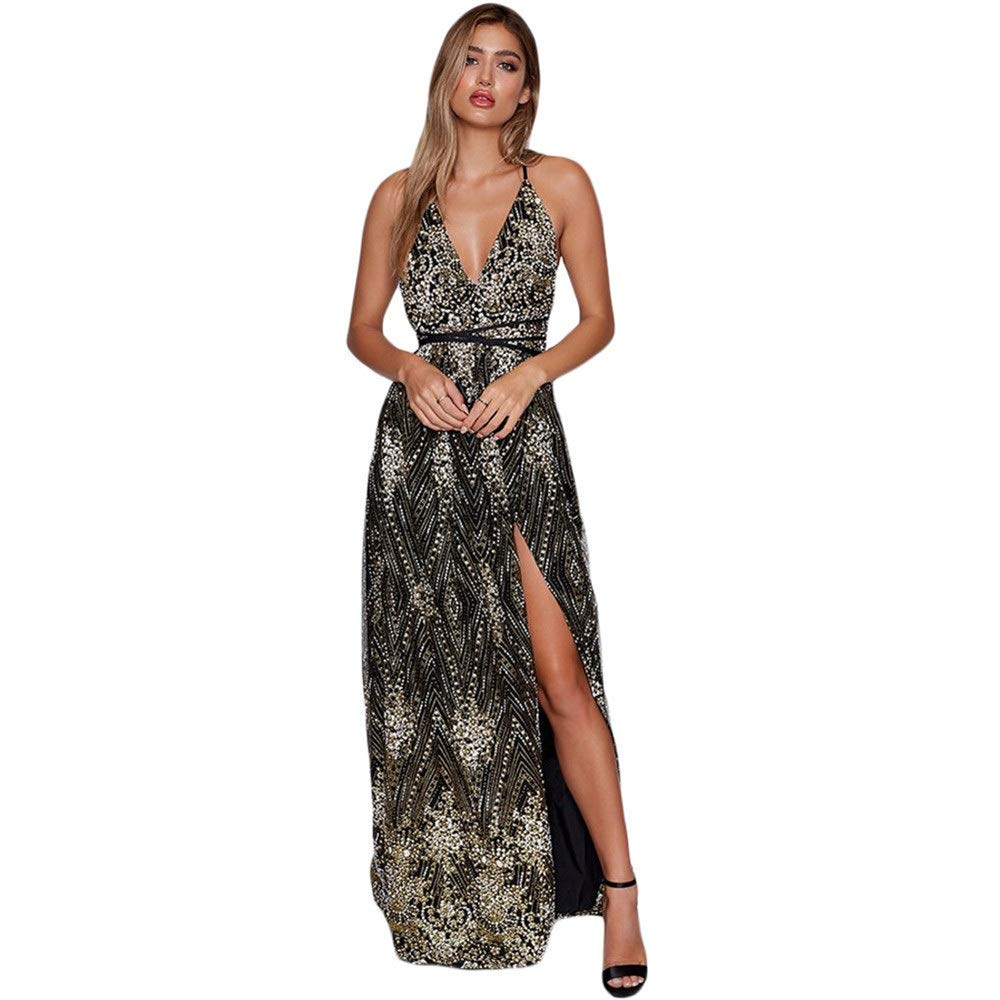 Black Women's Evening Cocktail Gowns Women Spaghetti Straps Sleeveless Evening Maxi Dress Plunging V Neck Backless Shiny Sequin Long Dress Front Slit Prom Gowns Cocktail Party Dress Bridesmaid Dress elegant