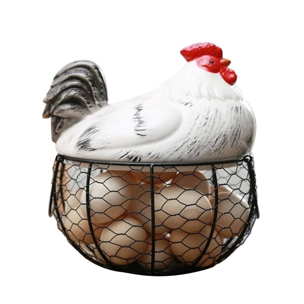 Mason Cash Egg Storage Basket Ceramic Farm Chicken Shaped Top Egg Holder//Organizer//Container Decorative Kitchen Storage Basket Metal Hen Nest Egg Collecting Basket